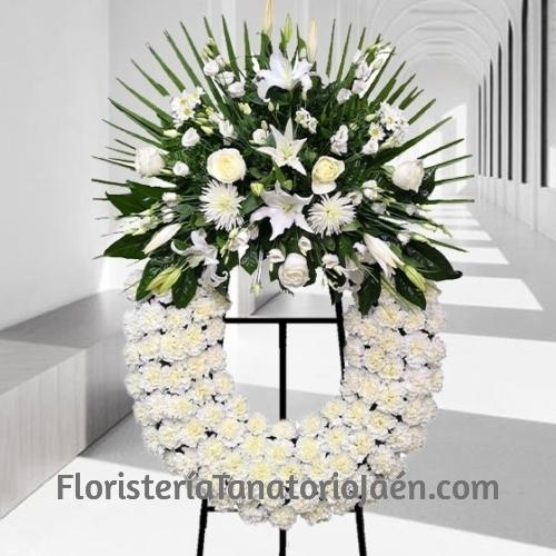 Corona de flores Blanca Clásica para tanatorio