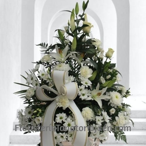 Centro de flores Blanco Especial para tanatorios Jaén
