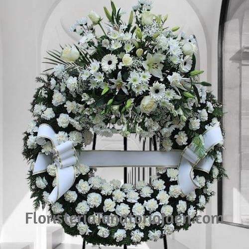 Corona Funeraria Blanca Superior Jaén, Rosas Blancas para Funeral